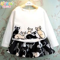 Girl's clothing 2014 autumn cartoon cat 1pcsweatshirt long-sleeve T-shirt+1 pc short skirt medium-large set