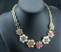 Enamel glaze flower cute copper flower fashion necklace Fiore Watchband necklace for Women