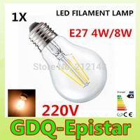 1x Energy saving E27 4W 8W Led Filament Light Bulb 360 Degree white,warm white lamp bulbs for home/indoor/kitchen AC220V AC230V