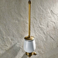 Antique Brass + Ceramic Finished Bathroom Wall Mounted Toilet Brush &  Holder & Cup