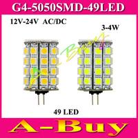 1Pcs 7W White Warm White 49 LED Lamp G4 5050 SMD Bulb Light DC/AC 12V-24V High Lumen