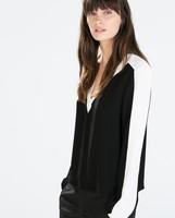 ST2428 New Fashion Ladies' elegant classic black white blouses vintage sexy V neck long sleeve OL shirts casual slim brand tops