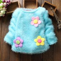 2014 winter  flower cute children fleece sweater 0-4 years old