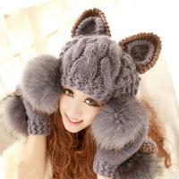 New Faux Fur Ball Wool Hat Cap Super Cute Winter Warm hat Korean Women Devil horns Cat Ear Knit Ski Beanie knitted hat women