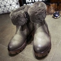 European and American women's boots in the winter with thick with warm suede snow boots female Brush-round Martin boots 112110