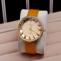 Promotion price watch woman luxury famous brand 2014 hot sale diamonds shimmering powder quartz leather wristwatch free shipping