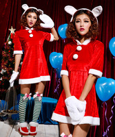Hot Selling Free Size Lovely Cute Christmas Costumes Skirt Santa Suits Xmas Dress Christmas Dress Gift For Girl Women