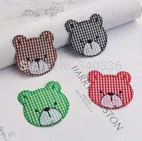 Quality Child clothes cartoon grid cloth bear patch embroidery home decoration applique diy sew-on child clothes cartoon patch