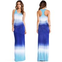 Women New Style Dress Sleeveless Round Collar H-Shaped Floor-Length Gradient Hang Dye Fresh Elastic Tank Top Dress XS~XXL D545