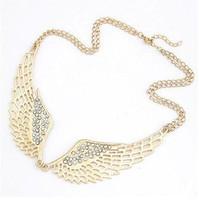2014 New Exclusive Brand Design Korean Fashion Elegant Charm Hollow Rhinestone Angel Wings Necklace Wholesale Hot sales