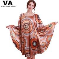 Sleepwear Women Nightgowns Plus Size O Neck Batwing Rayon Silk Circle Print Nightgown New Summer Woman Bathrobes 4XL 5XL W00176
