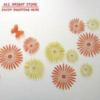 New Decorative Combination DIY Flower Wall Sticker Chrysanthemum Yellow Daisy Art Decor Home Bedroom Stickers