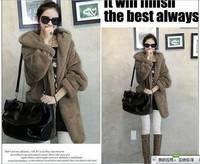 2014 fashion Lady Faux fur coat medium-long women's winter overcoat hooded girl's warm outerwear autumn winter jacket with belt