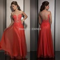 Free Shipping New vestido de festa longo Scoop Neck Cap Sleeve Open Back A-Line Romantic Appliques Evening Dresses Custom Made