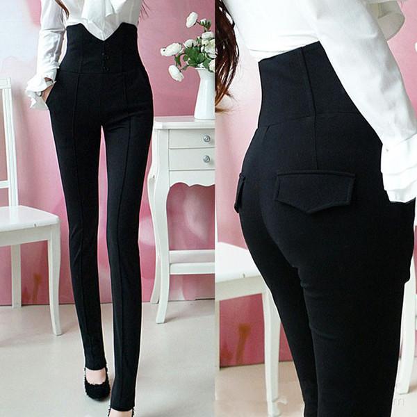 a8bca08ecd25fb Caliente de la nueva llegada de las mujeres de moda de cintura alta  pantalones negros femeninos más el tamaño Office Lady Formal lápiz  pantalones 852294