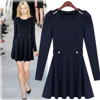 European style 2014 ladies' autumn new fashion long sleeves dresses women slim o-neck short bottoming dress ZT-073