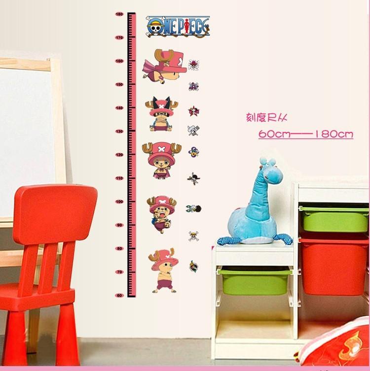 New Cartoon kids growth chart height measureJapan Anime 1 PC chopper Kids Nursery ZY6037 Removable wall stickers home decor(China (Mainland))
