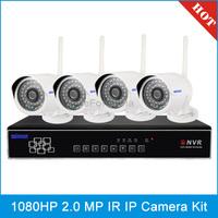 SN-NVK-8304E 4 Chanel HD 1080P P2P 2.0 Mega Pixel Wireless Cloud IP Camera NVR Kit, IR Distance: 20m