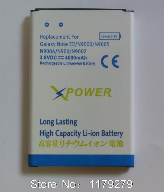 Top Quality 4000mAh Battery for Samsung Galaxy Note 3 N9000 N9005 N9002 free shipping(China (Mainland))
