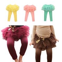Children retail cotton layered lace tutu pantskirt trousers princess skirt leggings autumn kids girls culottes free shipping