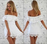 Women off the Shoulder Chiffon Dress Lace Ruffles White Casual Dresses Slash Neck Sexy roupas vestidos femininos Party Prom Cute