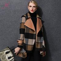 XL-5XL Plus Size Women Winter Wool Coat Women High Fashion Grid Wool Coat Warm Women Fashion Coat