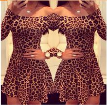 hexin 2014 new Leopard print strapless dress women fashion vestidos ruffles slash neck sexy dress(China (Mainland))