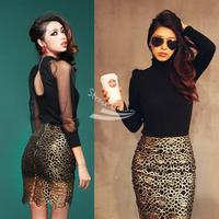 Elegant Restore Women Black Skirt Short Bag Hip Golden Lace Skirt Pencil Skirt