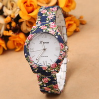 Vintage Wristwatches women dress flower watch stainless steel quartz ladies watches charms analog girl waterproof geneva watch