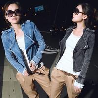 Women's Denim Coat Long Sleeve Zipper Up Motorcycle Jeans Coat Blazer Jacket Black/Blue