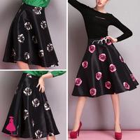 Vintage Hepburn TuTu High Waist Rose Floral Print Pleated A-line Midi Swing Skirt Woman 2014 New Arrivals