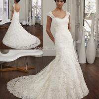 Pure White Vestido de Novia 2015 Backless Lace Wedding Dress Mermaid Bridal Gowns Chapel Train W3694