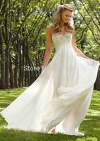 2015 Chiffon Empire Back Zipper Sweetheart Beads Wedding Dress Bridal US Size2 4 6 8 10 12 14 16