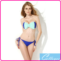 Colloyes 2014 Sexy Bikinis Set Swimwear Royal Blue Bandeau Top Biquini Swimsuit with A Playful Bow at the Center Front
