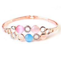 Fashion 18K Rose Gold Rhinestone Bracelet  Dot Opal Bangles Jewelry