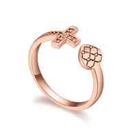 new brand design fashion woman sell well 18K Gold Heart Ring Cross CZ Ring 108718
