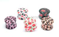 50pcs HOT Sale  Acrylic Colorful Fake Ear Plugs Expander Earring  Ear Taper 9 sizes