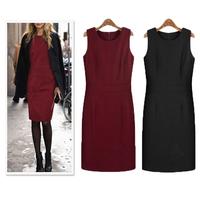 Winter fashion plus size street thickening woolen one-piece dress tank dress slim sleeveless woolen basic dress