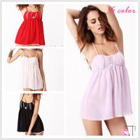 Sexy Chiffon Erotic Women's Pajamas Sleepwear Nightwear Brand Babydolls & Chemises With Thong For Woman Dress Lingerie 2014