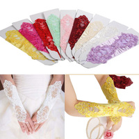 Bride Wedding Party Dress Fingerless Pearl Lace Satin Bridal Gloves Costume Sexy Gloves Free Size for 11 Colors  L10124
