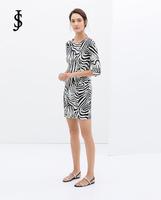 2015 New European women half sleeve zebra print casual Dress WD0553