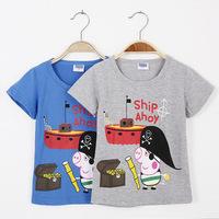 2015 New Peppa pig baby boys T-shirts kids child cartoon t shirts kids children cartoon Tops children's clothing