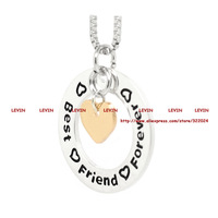 2014 Fashion Best Friends Forever Silver Circle Gold Heart  Pendant Necklace Women Gift Box Chain Statement Necklace Jewelry