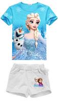 Retail! New 2014 summer Snow Romance 100% cotton children girl Elsa Character Short set free shipping TY-R5