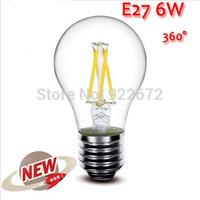 5PCS/LOT  High Power E27 4W 6W 8W 4LED Chips LED Bulb Light Lamps Glass Globe Lamp Edison Filament bulb Warm White 110V-240V
