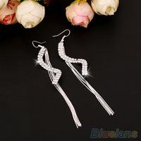 Women's Fashion Elegant S-Shape Long Tassels Rhinestone Hook Dangle Earrings
