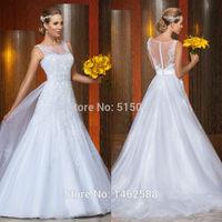 Gorgeous Lace Appliques Long Train Wedding Dresses With Open Back 2015 Vestido Novia Sexy
