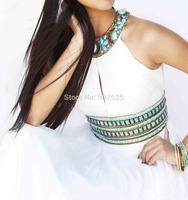 Chiffon Fabric vestidos de festa vestido longo 100% Beading Hand Work Long Evening Dress OL102431