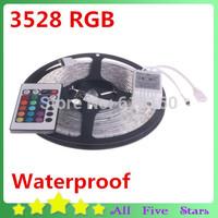 Waterproof 3528 RGB LED Strip 5M 300Led SMD with 24 Keys IR Remote Controller IP65 LED Strip Light Ribbon Tape Free Shipping