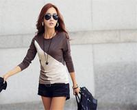 Autumn Winter Women Bottoming Shirt Patchwork Design Basic Shirt  O-Neck Long Sleeve Slim  Shirt  Tops  Plus Size Lady Top E625